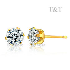T&T 14K Gold GP 4mm Stainless Steel Clear CZ Round Stud Earrings (ER65)
