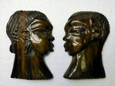 African Ebony Wood Sculpture. Couple Faces. Wall Art Plaques. Rare.