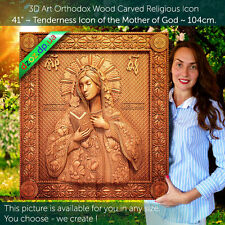 "41"" Wood Carving 3D Mother of God of Kaluga Icon orthodox painting-picture-art"
