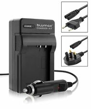 Camera Battery Mains and Car Charger with UK EU Plugs for Fuji Fujifilm NP-50