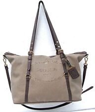PRADA LOGO NYLON LEATHER TOTE SHOULDER BAG HANDBAG