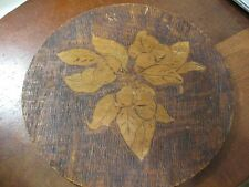 ANTIQUE PYROGRAPHY FLEMISH ART ROUND PLAQUE FRUIT APPLES BERRIES VINTAGE