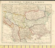 1841 ANCIENT MAP ~ NORTHERN TURKEY IN EUROPE WITH HUNGARY & DALMATIA