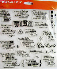 Make a Wish Quotes Birthday Fiskars Clear Acrylic Stamp Set 155410-1001 NEW!