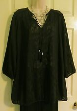 NEW Deep Black Artsy Lightweight Peasant Boho Top Lane Bryant Plus 18/20 (1X/2X)