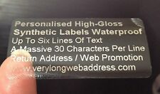 100 SILVER Address Labels PERSONALISED CLEAR GLOSS  Metallic Silver Print