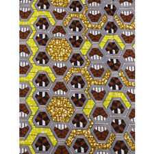 African Hexagons Print Fabric BY 1/2 YARD Ankara style kitenge fancy wax p917