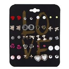 20 Pairs/Set Ear Stud Crystal Flower Love Heart Pearl Earrings Jewelry