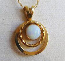 Fine Vintage 14k Gold Opal Delicate Necklace Pendant & Chain