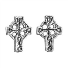 Sterling Silver Celtic Cross Stud Earrings New