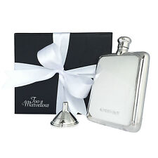 Solid Sterling Silver Rectangular 4oz Hip Flask & Free Sterling Silver Funnel!