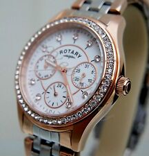 New Stunning Rotary Watch Ladies Rose gold Plated Swarovski Crystals RRP£169