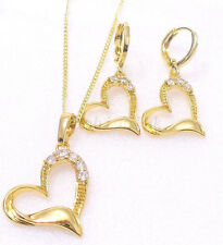Women New CZ Cubic Zirconia 14K Yellow Gold Plated Love Earring Necklace Set