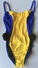 Vintage Ujena 1 Piece Color Block Swimsuit Maillot Ruffled Hi Cut Lined Size 10