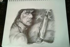 Original 11x14 Rambo/Sylvester Stallone pencil drawing done by artist ARTuro