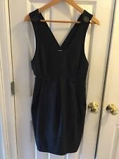 United Bamboo Black jumper scoop Neck Buttoned Sleeveless Dress Size 8