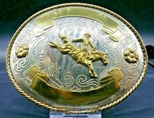 "NEW Rodeo BAREBACK RIDING Trophy BELT BUCKLE 5"" Oval Western German Silver&Gold"