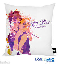 "AUDREY HEPBURN WATERCOLOUR QUOTE DESIGN 18"" X 18"" CUSHION GREAT GIFT IDEA"