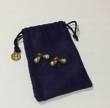 Tory Burch Double Pearl Earrings With Blue Tory Burch Pouch