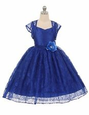 New Royal Blue Flower Girl Dress Wedding Pageant Easter Party Birthday Prom  336