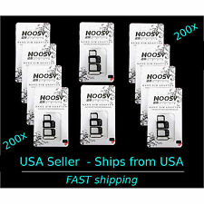 200 X iPhone &  Tablet Apple Samsung  NOOSY 3 Nano  & Micro SIM Card Adapter 100