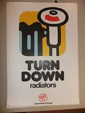 Poster 1976 TURN DOWN radiators  Department of Energy SAVE IT 15x10""