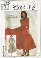 Easy Stretch Knit Dress Full Skirt Cowl Collar Simplicity Sewing Pattern Sz 6 8