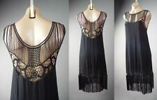 Black Vtg-y 20s Flapper Fringe Art Deco Charleston Dance Party 163 ac Dress 1XL