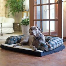 Beasleys Couch Dog Bed - Teal Pawprint Plaid, Plaids, Extra Large - 54L x 34W