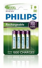 NEW Philips Rechargeable AAA 700 MAH NiMH Multi-Life Batteries Battery - 4 Pack