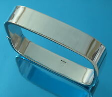 Solid 925 Sterling Silver Square Bangle Bracelet Plain 12 mm wide UKHallmarked