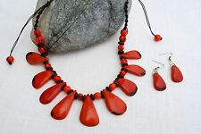 Ecuadorian Tagua nut jewelry set necklace and earrings Burnt Orange