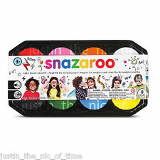 SNAZAROO Paint PALLET 8x 18ml Colours Face & Body Make Up Childrens Fancy Dress