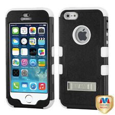 For iPhone 5s/5 Natural Black/White TUFF Hybrid Phone Case Cover (with Stand)