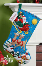 "Bucilla 18"" Christmas Felt Stocking Kit ""Over the Rooftop""  NEW Reindeer"