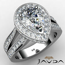 Glistening Pear Shape Diamond Engagement Ring GIA F VS2 14k White Gold 2.32 ct
