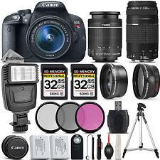 Canon EOS Rebel T5i 700D Camera + 18-55mm IS Lens + 75-300mm + 64GB + Flash
