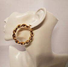 Twisted GRANDI BIG in oro 9 carati placcato Hoop Orecchini GRANDE CERCHIO Creole CHIC HOOPS