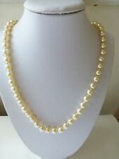 Vintage style classic cream glass imitation pearl necklace knotted M & S quality