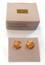 AVON SCULPTURED ROSE PIERCED EARRINGS SURGICAL STEEL POSTS NOS WITH BOX 1988