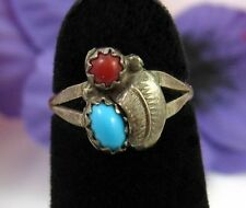 TURQUOISE & RED CORAL Leaf Vintage STERLING SILVER RING 2 1/2 Size 2.50