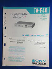 SONY TA-F40 INTEGRATED AMPLIFIER SERVICE MANUAL FACTORY ORIGINAL