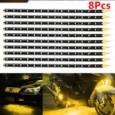 HOT 8x 30cm YELLOW 15 LED SMD Bulb Flexible Interior Atmosphere Strip Light Lamp
