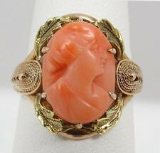 Antique Victorian 10K Yellow Gold Carved Pink Coral Cameo Ring Size 7.25