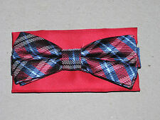 $59.50 New Jos A Bank  Red & Blue plaid 100% Silk Bow tie & red pocket square
