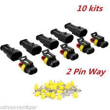 10 Kits 2 Pin Way Car SUV Waterproof Electrical Wire Connector Plug Terminal Set
