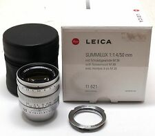 50mm f/1.4 Summilux lens silver chrome 11621 Leica LTM SM M39 screw + M MINT