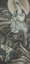 Hanging Scroll Chinese Painting Kannon China Asian Ink Bodhisattva Picture l49