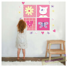 Childrens Kitty Patchwork Cats Wall Stickers Decals Nursery Girls Bedroom Kids