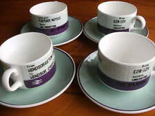 BRITISH RAILWAYS BONE CHINA 4 CUPS & SAUCERS ALL DIFFERENT TICKETS TRAINS